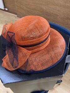 Wedding Hat Mitzi Lorenz, Orange And Navy Blue, Worn Once