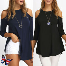 UK Womens Off Cold Shoulder Loose T Shirt Tops Jumper Ladies Casual Long Blouse