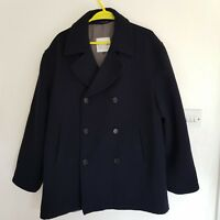 Savoy Taylors Guild Mens Jacket Double Breasted Peacoat Black Chest M L Wool Mix