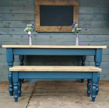 rustic plank pine farmhouse table 5 foot by 3 foot  4 foot bench