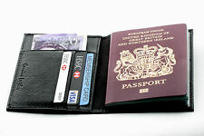CALIDAD PREMIUM Cuero Negro Nuevo Cartera De Viaje Organizador Funda pasaporte