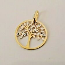 9ct Yellow Gold Tree of Life Flat Pendant Charm 0.55g NEW Xmas Gift 375 Present