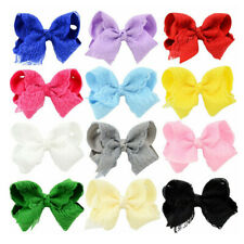 Baby Girls Lace Rib Bubble Flower Children's Bow Hairpin Fashion Cute Hair Clips