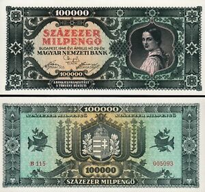 Hungary, 100000 100,000 Milpengo, 1946, UNC-, P-127