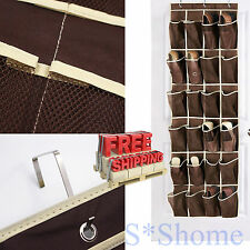 24 Pocket Over The Door Hanging Shoe Rack Organizer Holder Storage Wall Closet