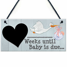 Weeks Until Baby Is Due Chalkboard Hanging Plaque Baby Shower Pregnancy Gift