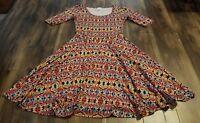 LULAROE MULTI COLOR PATTERN DRESS SIZE SMALL WOMEN'S