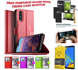 PU Leather Wallet Flip Book Case Cover For Huawei P Smart 2019 & Tempered Glass