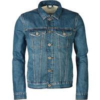 New River Island Mens Denim Jacket Fleece Lined Borg Coat Long Sleeve Button Up