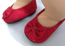 Red Glitter Bow Dress Shoes fits 15 inch Bitty Baby & Bitty Twin Doll Clothes
