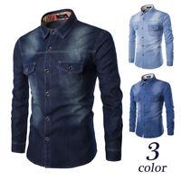 Fashion Men's Lapel Collar Denim Shirt Pockets Long Sleeve Slim Fit Casual Top