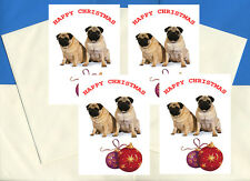 PUG PACK OF 4 CARDS DOG PRINT GREETING CHRISTMAS CARDS