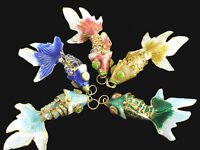 Guilloche Enamel Gold-Plated Articulated 5PCS Fish Necklace Pendant