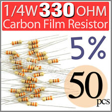 50 pcs Carbon Film Resistors 1/4W 0.25W 0.25 Watt 330 Ohm 330ohm +/-5%