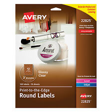 "Avery Round Print-to-the-Edge Labels 2"" dia Glossy Clear 120/Pack 22825"