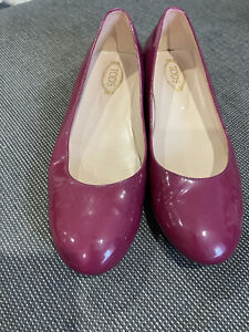 TOD'S Gommini Metallo Patent Leather Ballet Shoe With Gold Studs 38.5