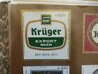 VINTAGE BELGIUM BEER LABEL. PIEDBOEUF BREWERY - KRUGER EXPORT BEER 33 CL