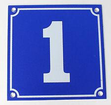 """Aluminium Hausnummer """"1"""" 10x10cm blau Hausnummernschild sofort lieferbar Schild"""