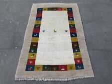 Old Hand Made Traditional Persian Rugs Oriental Beige Wool Gabbeh Rug 148x100cm