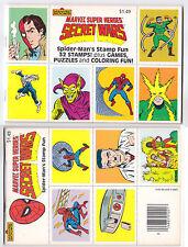 MARVEL SUPER HEROES SECRET WARS SPIDER-MAN'S STAMP FUN, 32 STAMPS, GAMES, 1984