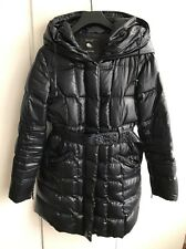 Zara Down Coat With Hood In Navy, Size M