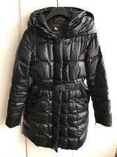 Zara Down Coat With Hood In Navy, Size M