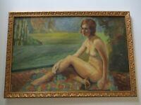 ANTIQUE NUDE FEMALE PAINTING LANDSCAPE NATURE WOMAN WOMEN MODEL ART DECO ERA OLD
