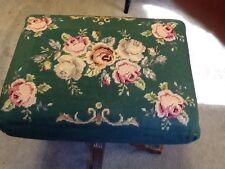 Antique Victorian Walnut Needlepoint Organ Stool Roses