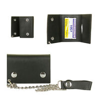 DBFL Men's Genuine Leather Chain Trifold Motorcycle Wallet Black OS