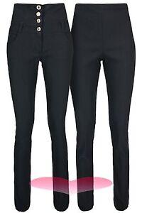 Ladies High Waist Trousers Black School Work Good Quality Stretch Skinny Pants.