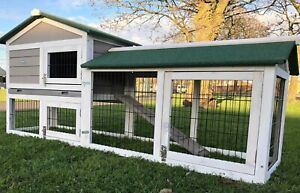 LARGE RABBIT HUTCH GUINEA PIG HUTCHES RUN RUNS LARGE 2 TIER WITH NIGHT SHUTTER