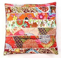 Indian Cotton Pillowcase Patchwork Floral Design Vintage Kantha Cushion Cover
