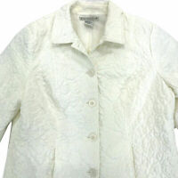Requirements Quilted Jacket Womens Sz XL Ivory Off White Lined Button Front