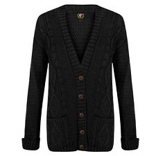 LADIES LONG SLEEVE BUTTON TOP CHUNKY ARAN/CABLE KNITTED GRANDAD POCKET CARDIGAN