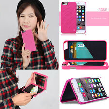 Credit Card Holder Cover Makeup Mirror Phone Case For Apple iPhone 6 6s Plus Lot