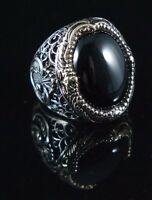 925 Sterling Silver Handmade Authentic Turkish Onyx Men's Ring Size 10-13