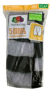 "Fruit of the Loom BOYS' 5-PACK BOXER BRIEF ""Cotton & COVERED WAISTBAND""  5CEL01B"