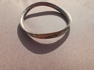 Beautiful Sterling Silver Wavy Hammered Bangle 19.5g
