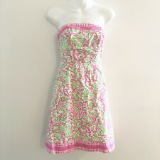 LILLY PULITZER Womens Strapless Dress Pink Green Paisley Gingham Trim Size 0