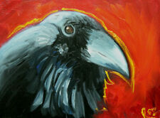 """Bird #327 - 9x12"""" Raven oil painting by Roz"""