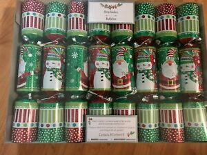 SET 8 SNOWMAN SANTA GLITTER PARTY CRACKERS POPPERS Holiday FAVORS PIER 1 IMPORTS