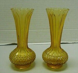 Vintage Amber Glass Bud Vase Diamond Hobnail with Long Ribbed Neck Set of 2