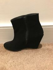Black Wedge Ankle Boots Wedge Heel Faux Suede Size 38 River Island