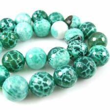 Green Crackle Agate Beads - Faceted Round 12mm (Sold Per Strand)