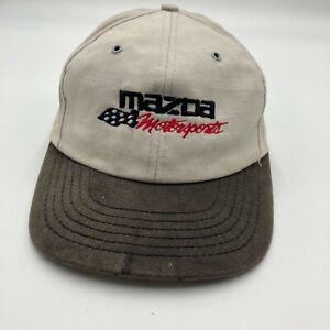Vintage Mazda Motorsports 1995 SCCA National Runoffs Hat Cap Beige Snap Back