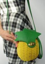 Sac à main paille osier rigide ananas pineapple jaune vert original pinup rétro