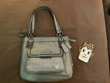 Like New Coach Kristin Exotic Expandable Leather Tote Bag GRAY