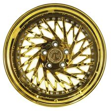 "18x9.5 Aodhan DS03 5x100 +35 Gold Vacuum / Chrome Rims  2.95"" Lip (Set of 4)"