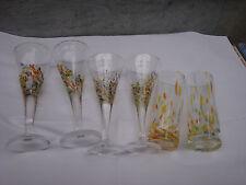 Six grands verres signés BIOT multi couleurs