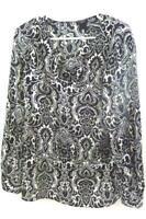 Ann Taylor Women's Black & White Paisley V-Neck Long Sleeve Blouse Top Sz Medium